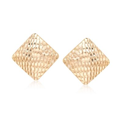 18kt Gold Over Sterling Silver Textured Square Earrings, , default