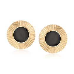 C. 1980 Vintage Black Onyx and 14kt Yellow Gold Disc Earrings , , default