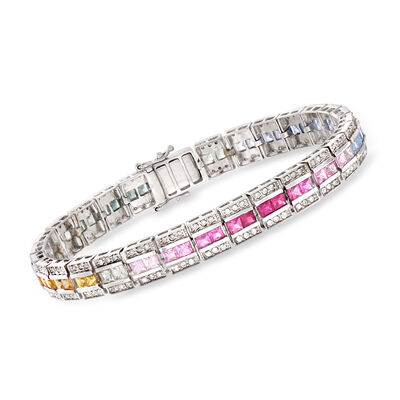 C. 1980 Vintage 11.00 ct. t.w. Multicolored Sapphire and 1.45 ct. t.w. Diamond Bracelet in 14kt White Gold, , default