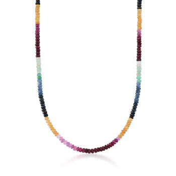 """100.00 ct. t.w. Multicolored Sapphire Bead Necklace in Sterling Silver. 17"""", , default"""