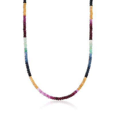 100.00 ct. t.w. Multicolored Sapphire Bead Necklace in Sterling Silver, , default