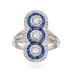C. 1970 Vintage 1.10 ct. t.w. Diamond and .85 ct. t.w. Sapphire Dinner Ring in Platinum, , default