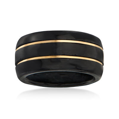 Black Jade Ring with 14kt Yellow Gold