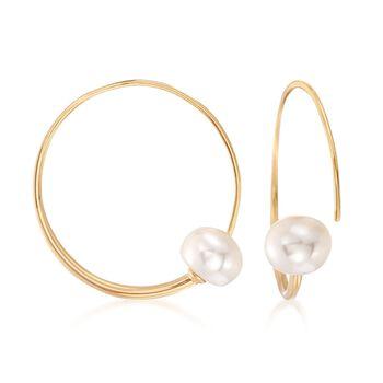"9-9.5mm Cultured Pearl Threader Hoop Earrings in 18kt Gold Over Sterling. 1 1/4"", , default"