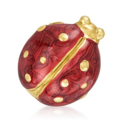 C. 1970 Vintage Red Enamel Ladybug Pin in 18kt Yellow Gold