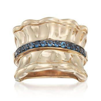 .60 ct. t.w. Blue Topaz Ring in 14kt Gold Over Sterling, , default