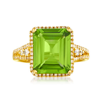 5.75 Carat Peridot and .40 ct. t.w. Diamond Ring in 14kt Yellow Gold