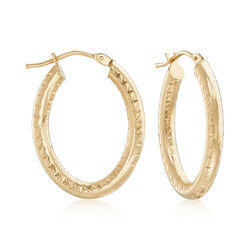 Italian 18kt Yellow Gold Oval Hoop Earrings, , default