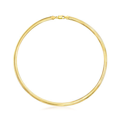 Italian 6mm 18kt Gold Over Sterling Omega Necklace