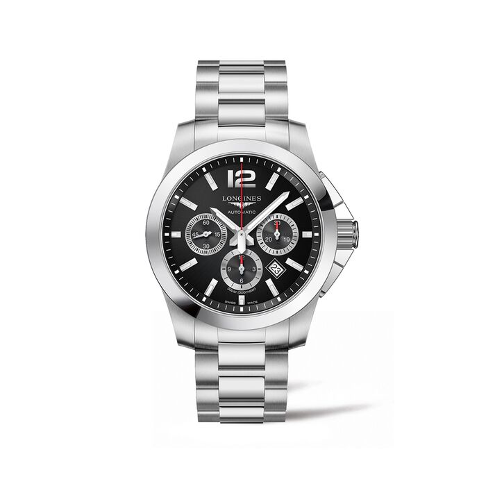 Longines Conquest Men's 44mm Auto Chronograph Stainless Steel Watch, , default
