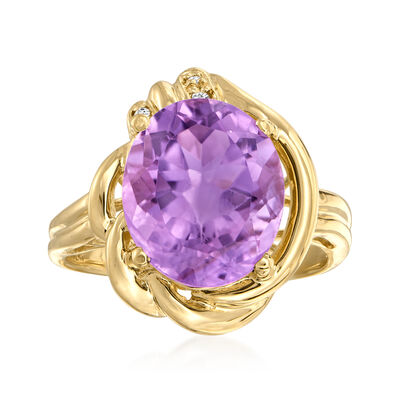 C. 1980 Vintage 4.50 Carat Amethyst Ring with Diamond Accents in 10kt Yellow Gold