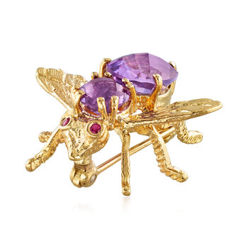 C. 1980 Vintage 2.60 ct. t.w. Amethyst Bee Pin with Ruby Accents in 18kt Yellow Gold