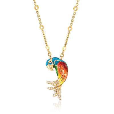 Multicolored Enamel and .19 ct. t.w. CZ Parrot Necklace in 18kt Gold Over Sterling, , default