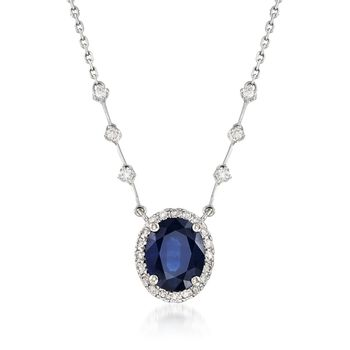 "3.20 Carat Sapphire and .48 ct. t.w.  Diamond Station-Style Pendant Necklace in 14kt White Gold. 16"", , default"