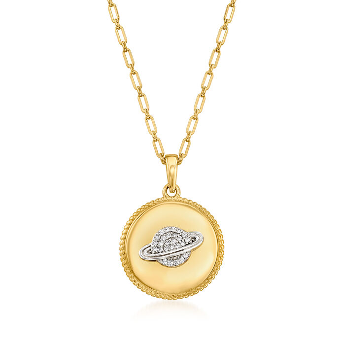 .10 ct. t.w. White Topaz Planet Pendant Necklace in 18kt Gold Over Sterling