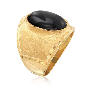 Italian 10x14mm Black Onyx Ring in 18kt Gold Over Sterling, , default