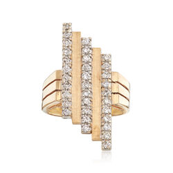 C. 1970 Vintage 1.00 ct. t.w. Diamond Asymmetrical Ring in 14kt Yellow Gold, , default