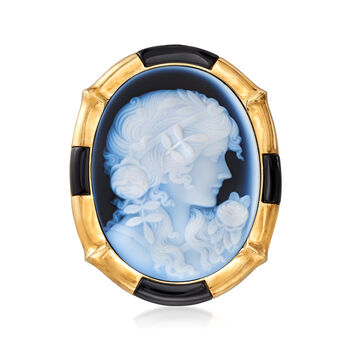 C. 1980 Vintage Blue Agate and Black Onyx Cameo Pin Pendant in 18kt Yellow Gold