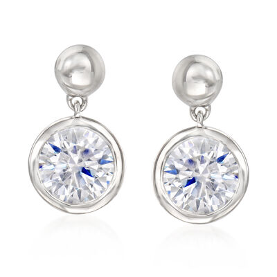 2.00 ct. t.w. Bezel-Set CZ Drop Earrings in Sterling Silver, , default