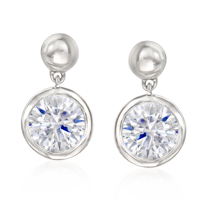 2.00 ct. t.w. Bezel-Set CZ Drop Earrings in Sterling Silver