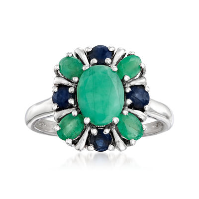 1.50 ct. t.w. Emerald and .40 ct. t.w. Sapphire Floral Ring in Sterling Silver, , default