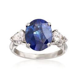 C. 2000 Vintage 3.75 Carat Sapphire and .80 ct. t.w. Diamond Ring in Platinum, , default