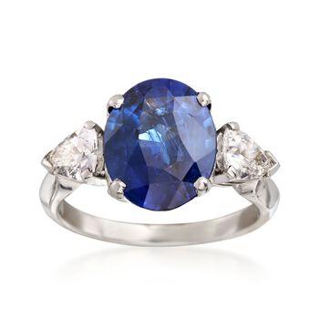 C. 2000 Vintage 3.75 Carat Sapphire and .80 ct. t.w. Diamond Ring in Platinum. Size 5, , default