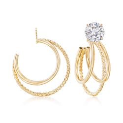14kt Yellow Gold Three-Row Hoop Earring Jackets, , default