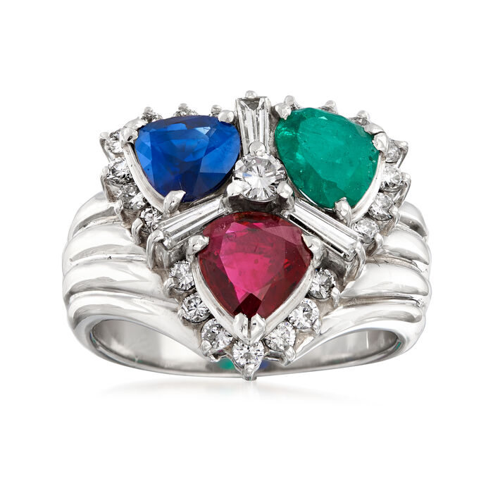 C. 1980 Vintage 2.25 ct. t.w. Multi-Gemstone and .80 ct. t.w. Diamond Cluster Ring in Platinum. Size 5, , default