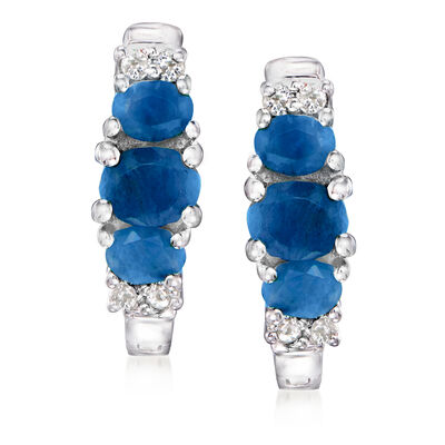 1.40 ct. t.w. Sapphire and .16 ct. t.w. White Topaz Earrings in Sterling Silver