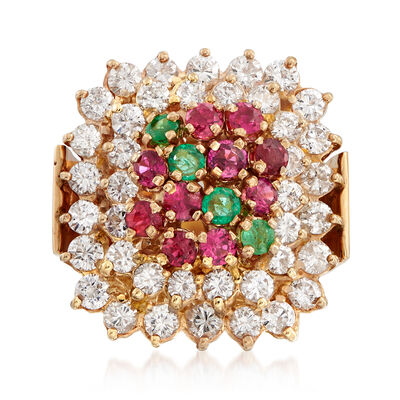 C. 1980 Vintage 2.65 ct. t.w. Diamond, 1.20 ct. t.w. Ruby and .40 ct. t.w. Emerald Ring in 14kt Yellow Gold, , default