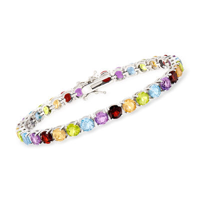 18.60 ct. t.w. Multi-Stone Tennis Bracelet in Sterling Silver, , default