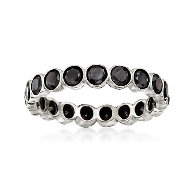 2.00 ct. t.w. Bezel-Set Black Diamond Eternity Band in 14kt White Gold, , default