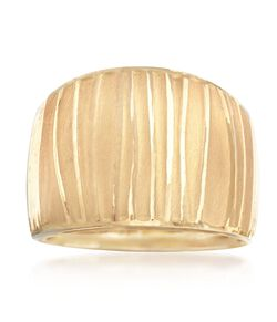 Italian 18kt Yellow Gold Wide Ripple Ring, , default