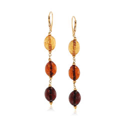 Italian Multicolored Brown Glass Bead Murano Glass Bead Drop Earrings in 18kt Gold Over Sterling, , default