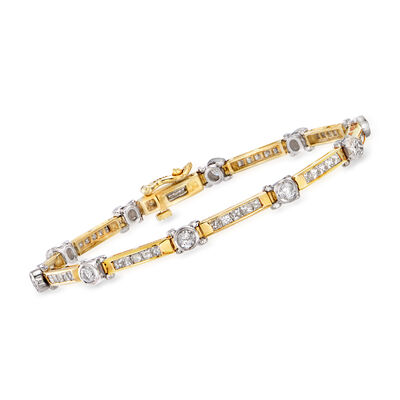 3.00 ct. t.w. Diamond Bar-Link Bracelet in 14kt Two-Tone Gold