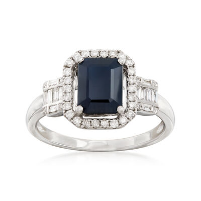 1.90 Carat Sapphire and .32 ct. t.w. Diamond Ring in 14kt White Gold, , default