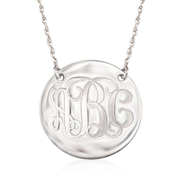 Sterling Silver Script Monogram Disc Necklace