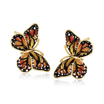 Italian 18kt Yellow Gold Butterfly Earrings with Enamel