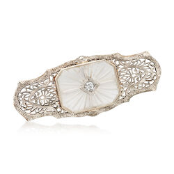 C. 1950 Vintage Carved Glass With Diamond Filagree Pin Pendant in 14kt White Gold, , default