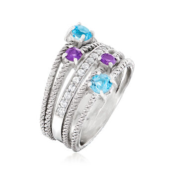1.10 ct. t.w. Multi-Gemstone Multi-Band Ring in Sterling Silver