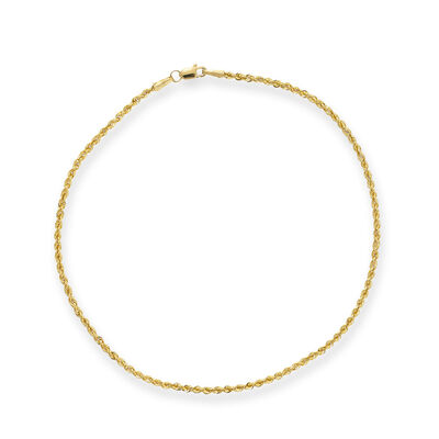 14kt Yellow Gold Rope Chain Anklet