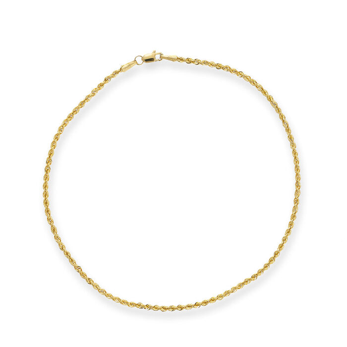 14kt Yellow Gold Rope Chain Anklet. 10""
