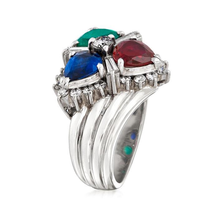 C. 1980 Vintage 2.25 ct. t.w. Multi-Gemstone and .80 ct. t.w. Diamond Cluster Ring in Platinum