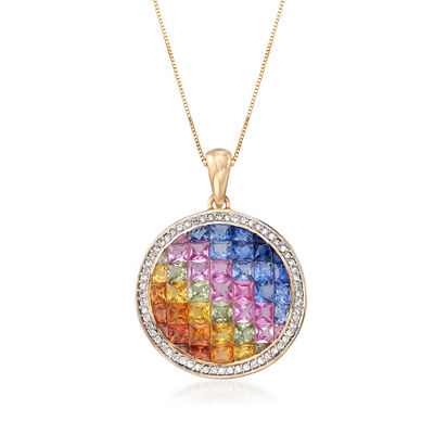 4.00 ct. t.w. Multicolored Sapphire and .30 ct. t.w. Diamond Pendant in 14kt Yellow Gold, , default
