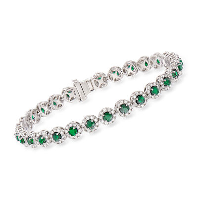 4.10 ct. t.w. Emerald and 3.00 ct. t.w. Diamond Tennis Bracelet in 14kt White Gold, , default