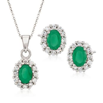 "3.15 ct. t.w. Emerald and 1.40 ct. t.w. CZ Jewelry Set: Earrings and Necklace in Sterling Silver. 18"", , default"