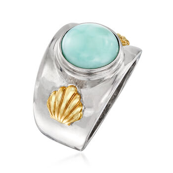 Larimar Wide Ring in Sterling Silver and 14kt Gold, , default