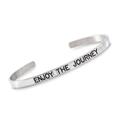 "Italian Sterling Silver ""Enjoy the Journey"" Cuff Bracelet with Black Enamel, , default"