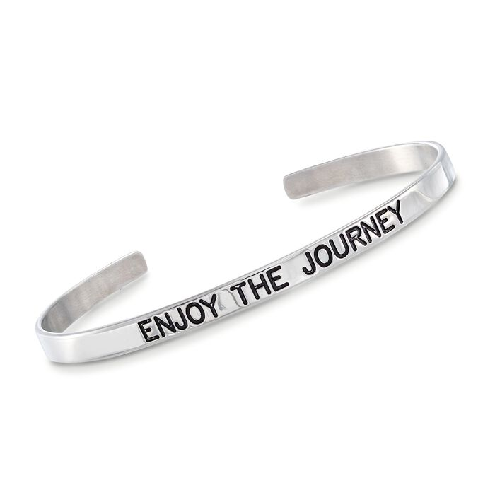 "Italian Sterling Silver ""Enjoy the Journey"" Cuff Bracelet with Black Enamel. 7"", , default"